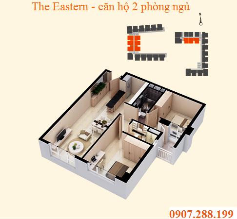 BỐ TRÍ CĂN HỘ 2 PHÒNG NGỦ - THE EASTERN