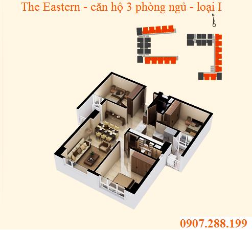 BỐ TRÍ CĂN 3 PHÒNG NGỦ LOẠI I - THE EASTERN